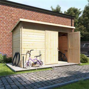 10 x 6 ouble oor BillyOh Pent Log Cabin Windowless Heavy Duty Bike Store Range - 28