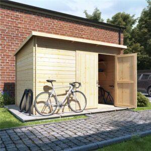 10 x 8 ouble oor BillyOh Pent Log Cabin Windowless Heavy Duty Bike Store Range - 28