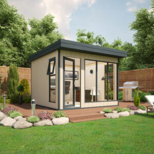 10x10 9mm Composite Timber Cladding Pent Shed - Evolution Insulated Composite Garden Office