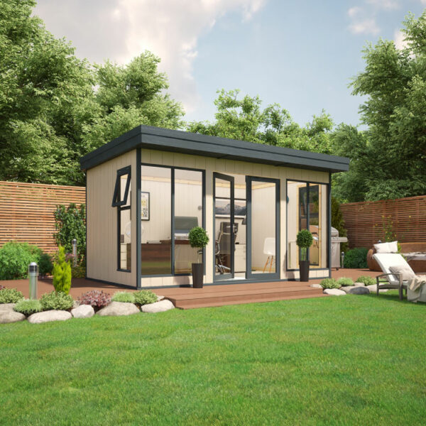 14x8 9mm Composite Timber Cladding Pent Shed - Evolution Insulated Composite Garden Office