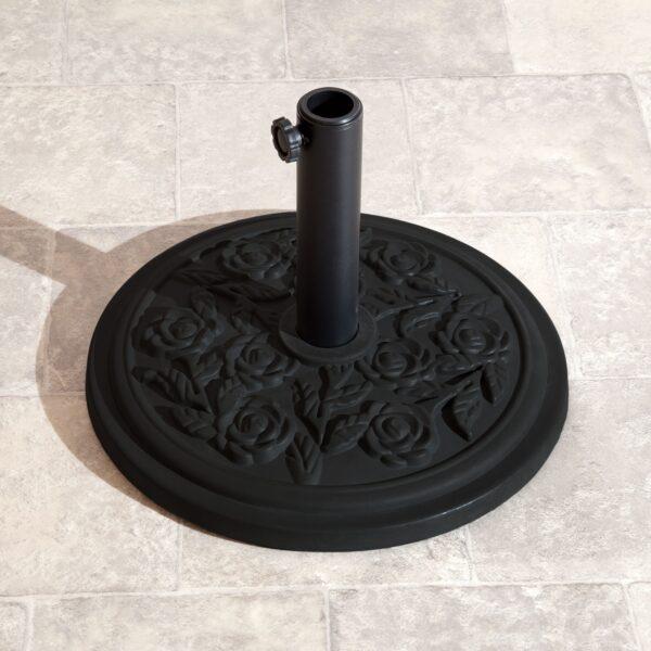 9.5kg Parasol Base Black Rose Design