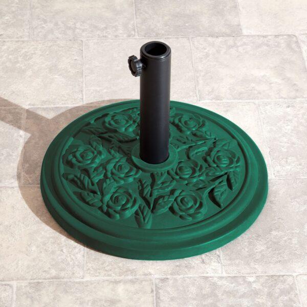9.5kg Parasol Base Green Rose Design
