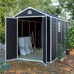BillyOh Ashford Plastic Garden Storage Shed Inc Foundation Kit Grey - 6 x 12 ft Inc Foundation Kit