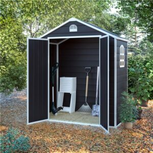 BillyOh Ashford Plastic Garden Storage Shed Inc Foundation Kit Grey - 6 x 3 ft Inc Foundation Kit
