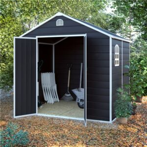 BillyOh Ashford Plastic Garden Storage Shed Inc Foundation Kit Grey - 6 x 6 ft Inc Foundation Kit