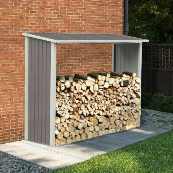 BillyOh Metal Log Store Garden Storage Shed - 6x3 Warm Grey