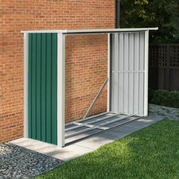 BillyOh Metal Log Store Garden Storage Shed - 8x3 Green