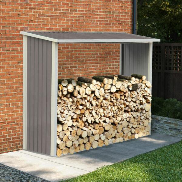 BillyOh Metal Log Store Garden Storage Shed - 8x3 Warm Grey