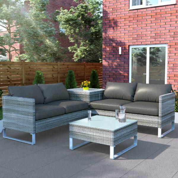 BillyOh Salerno Rattan Outdoor Garden Furniture Corner Sofa Set With Storage - 4 Seater