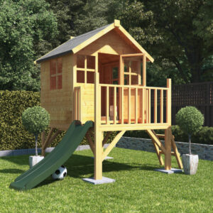 Bunny Max Tower Wooden Kids Outdoor Playhouse with Slide - 4 x 4 BillyOh