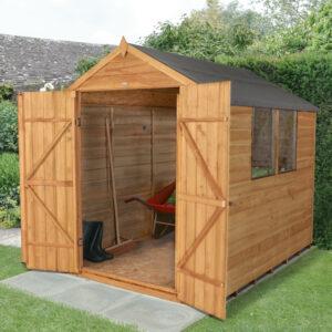 Forest Garden Apex Overlap Dipped Double Door 8 x 6 Wooden Garden Shed