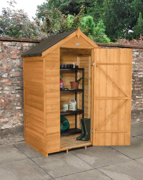 Forest Garden Apex Overlap Dipped No Window 4 x 3 Wooden Garden Shed (ASSEMBLED)