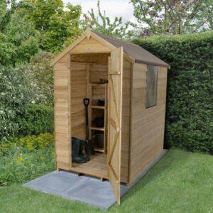 Forest Garden Apex Overlap Pressure Treated 6 x 4 Wooden Garden Shed (ASSEMBLED)