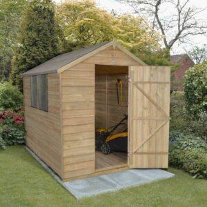 Forest Garden Apex Overlap Pressure Treated 8 x 6 Wooden Garden Shed (ASSEMBLED)