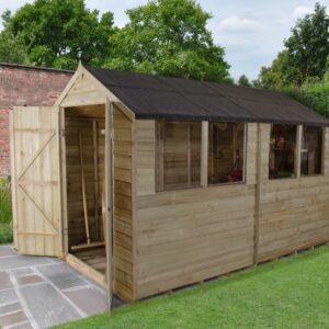Forest Garden Apex Overlap Pressure Treated Double Door 10 x 6 Wooden Garden Shed (ASSEMBLED)