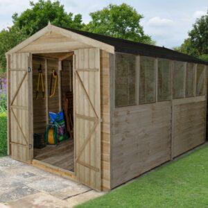 Forest Garden Apex Overlap Pressure Treated Double Door 12 x 8 Wooden Garden Shed(ASSEMBLED)