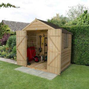 Forest Garden Apex Overlap Pressure Treated Double Door 7 x 5 Wooden Garden Shed