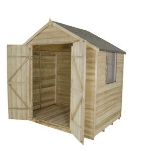 Forest Garden Apex Overlap Pressure Treated Double Door 7 x 5 Wooden Garden Shed (ASSEMBLED)
