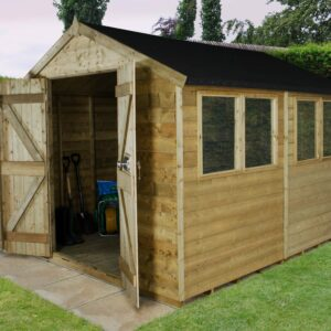 Forest Garden Apex Tongue & Groove Pressure Treated Double Door 12 x 8 Wooden Garden Shed (ASSEMBLED)