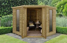 Forest Garden Arlington Premium Tongue & Groove 8x8 Corner Summerhouse (Installation Included)
