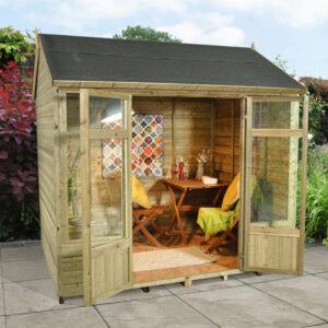Forest Garden Kempsford Summerhouse - 8 x 6 Shiplap Reverse Apex Pressure Treated (ASSEMBLED)