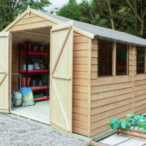 Forest Garden Overlap Pressure Treated 10x15 Apex Shed with Double Door (Installation Included)