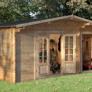 Forest Garden Wrekin Log Cabin 4.5m x 3.5m (ASSEMBLED)