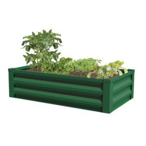 Panacea Metal Raised Garden Planter with Liner (Forest Green)