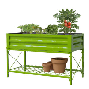 Panacea Stand Up Metal Raised Garden Planter with Liner (Moss Green)