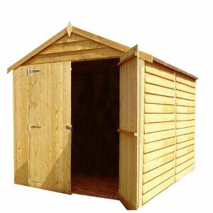 Shire 8 x 6 Overlap Premium Double Door Dip Treated Garden Shed (No Window)