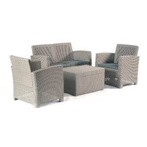 Vienna Plastic Rattan Garden Lounge Set with Storage Table & Seat Cushions