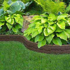 1.22m Recycled Rubber Lawn Edging - Flexi Curve Rockwall - Earth - H9cm