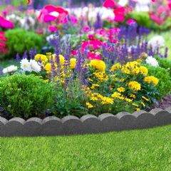 1.2m Recycled Rubber Lawn Edging - Flexi Curve Scallop - Grey - H10cm
