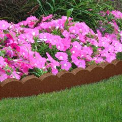 1.2m Recycled Rubber Lawn Edging - Flexi Curve Scallop - Terracotta - H10cm