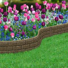 1.2m Recycled Rubber Lawn Edging - Ultra Curve Border Bricks - Earth - H15cm
