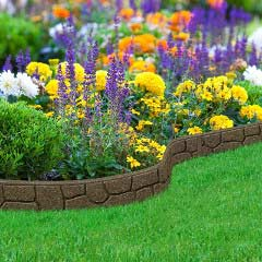 1.2m Recycled Rubber Lawn Edging - Ultra Curve Border Stone - H9cm