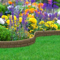 1.2m Recycled Rubber Lawn Edging - Ultra Curve Bricks - Earth - H9cm