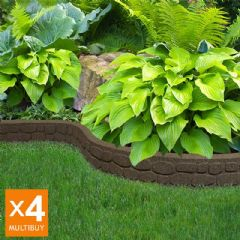 4.88m Recycled Rubber Lawn Edging - Flexi Curve Rockwall - Earth - H9cm