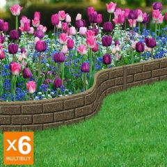 7.2m Recycled Rubber Lawn Edging - Ultra Curve Border Bricks - Earth - H15cm