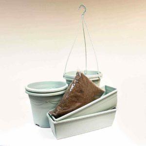 Aquamarine H/Basket Container Trough Set of 2 + Compost Kit