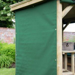 Forest Garden 3.5m Square Wooden Gazebo Curtains - Green