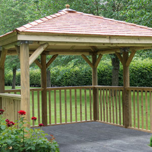 Forest Garden 3.5m Square Wooden Gazebo with Cedar Roof (No Base)