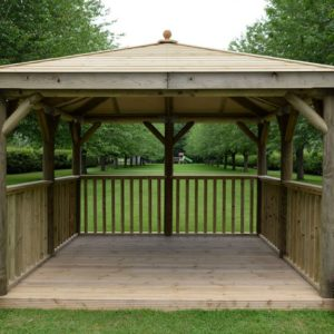 Forest Garden 3.5m Square Wooden Gazebo with Timber Roof (Including Base)