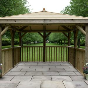 Forest Garden 3.5m Square Wooden Gazebo with Timber Roof (No Base)