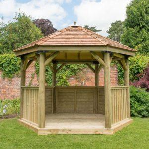 Forest Garden 3.6m Hexagonal Wooden Garden Gazebo with Cedar Roof