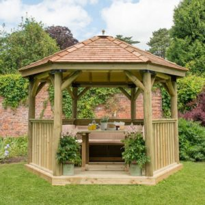 Forest Garden 3.6m Hexagonal Wooden Garden Gazebo with Cedar Roof - Furnished with Table, Benches and Cushions (Cream)