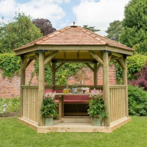 Forest Garden 3.6m Hexagonal Wooden Garden Gazebo with Cedar Roof - Furnished with Table, Benches and Cushions (Terracotta)