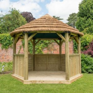 Forest Garden 3.6m Hexagonal Wooden Garden Gazebo with Thatched Roof - Cream Lining