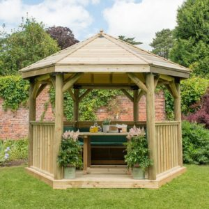 Forest Garden 3.6m Hexagonal Wooden Garden Gazebo with Timber Roof - Furnished with Table, Benches and Cushions (Green)