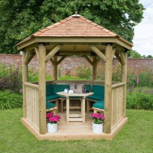 Forest Garden 3m Hexagonal Wooden Garden Gazebo with Cedar Roof - Furnished with Table, Benches and Cushions (Green)
